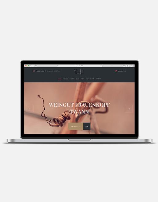 Website KMU Design Gestaltung Frauenkopf Bielersee Wein Twann